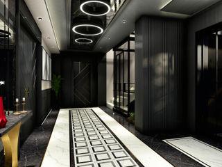 ANTE MİMARLIK Modern corridor, hallway & stairs Black