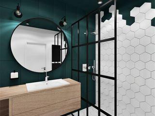 Wkwadrat Architekt Wnętrz Toruń Industrial style bathroom Tiles Turquoise