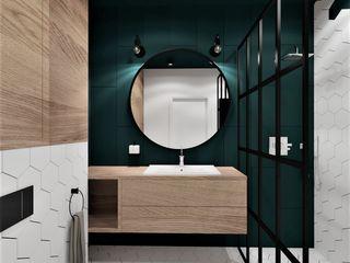 Wkwadrat Architekt Wnętrz Toruń Industrial style bathroom Wood Wood effect