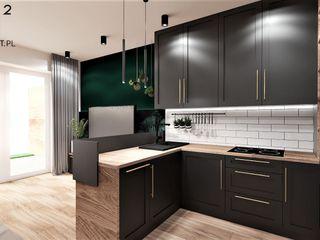 Wkwadrat Architekt Wnętrz Toruń Kitchen units Wood Black