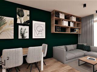 Wkwadrat Architekt Wnętrz Toruń Industrial style dining room Metal Green