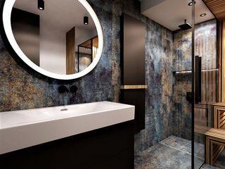 Wkwadrat Architekt Wnętrz Toruń Industrial style bathroom Wood Blue