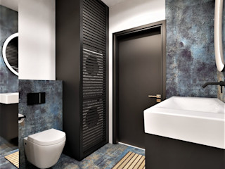 Wkwadrat Architekt Wnętrz Toruń Minimalist bathroom Tiles Blue