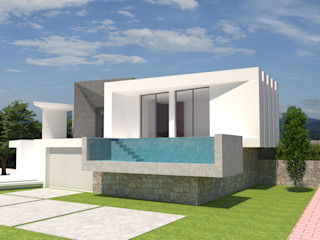 Barreres del Mundo Architects. Arquitectos e interioristas en Valencia. Einfamilienhaus Beton Weiß