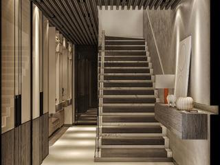 VİLLA PROJESİ WALL INTERIOR DESIGN Modern Koridor, Hol & Merdivenler