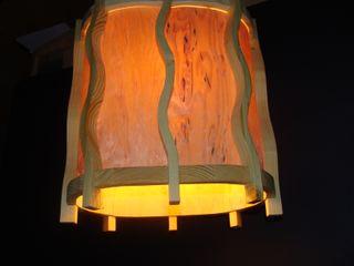 Holzlampe- Nordlicht 2 aus Fichte & Birkenfurnier -Hängelampe - Deckenlampe Jochens-Elch-O-Thek WohnzimmerBeleuchtung Holz Gelb