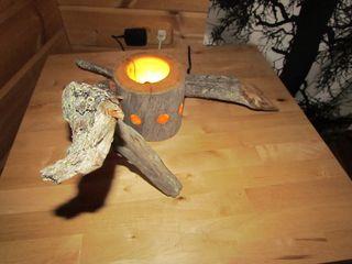 Kelo-Tischlampe mit LED Jochens-Elch-O-Thek WohnzimmerBeleuchtung Holz Grau