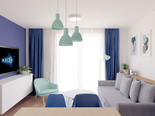 Anna Freier Architektura Wnętrz Salas de estilo moderno Azul