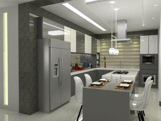 Laene Carvalho Arquitetura e Interiores 置入式廚房 Grey