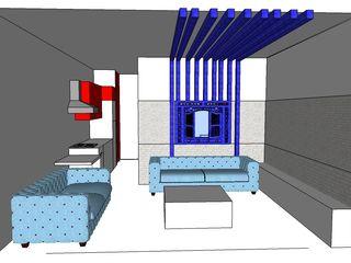 SERPİCİ's Mimarlık ve İç Mimarlık Architecture and INTERIOR DESIGN Вітальня Дерево-пластичний композит Синій