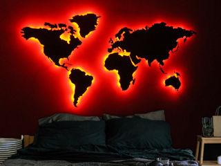 Planisfero da parete retro-illuminato LIGHT EARTH NIKLA STEEL DESIGN SoggiornoAccessori & Decorazioni