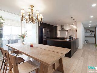 전주인테리어 신시가지 아이파크 40평대 아파트인테리어 디자인투플라이 러스틱스타일 다이닝 룸