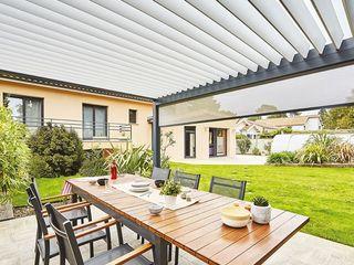 Véranda Gustave Rideau Balcones y terrazas modernos Aluminio/Cinc Gris