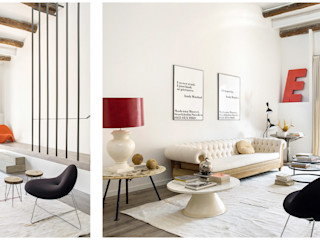110. DWELLING WITH FLOATING STAIRS Abrils Studio Salones de estilo moderno
