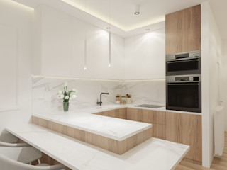 Wkwadrat Architekt Wnętrz Toruń Small kitchens MDF