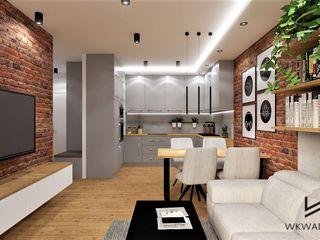 Wkwadrat Architekt Wnętrz Toruń Modern living room Bricks Grey