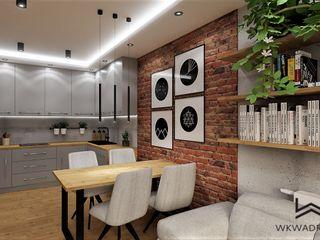 Wkwadrat Architekt Wnętrz Toruń Modern dining room Bricks Wood effect