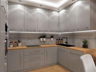 Wkwadrat Architekt Wnętrz Toruń Built-in kitchens MDF Grey