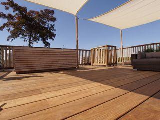 ZONZ sunsails Balcon, Veranda & Terrasse modernes Plastique Beige