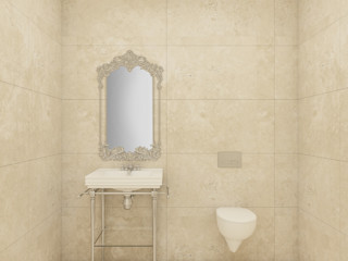 KATAR PROJE EKM İÇ MİMARLIK Klasik Banyo Mermer Bej