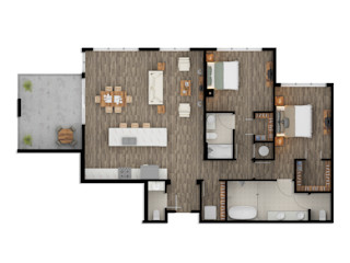 Color 2D Floor Plan Rendering Services fo Property Owners Phoenix Arizona JMSD Consultant - 3D Architectural Visualization Studio Modern Bathroom Wood Brown