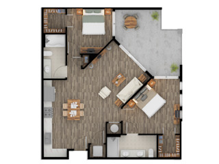 Color 2D Floor Plan Rendering Services fo Property Owners Phoenix Arizona JMSD Consultant - 3D Architectural Visualization Studio Modern Living Room Brown