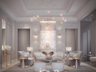 Living Room Design in Transitional Style IONS DESIGN Living room Copper/Bronze/Brass Grey