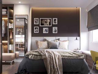 THIẾT KẾ NỘI THẤT CĂN HỘ BOTANICA | An Khoa Design Công ty TNHH Tư vấn thiết kế xây dựng An Khoa Phòng ngủ phong cách hiện đại