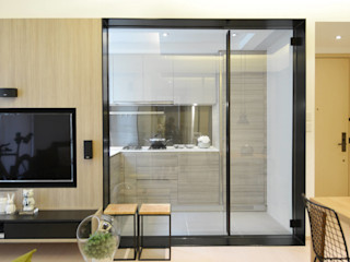A Square Ltd Small kitchens Glass Wood effect