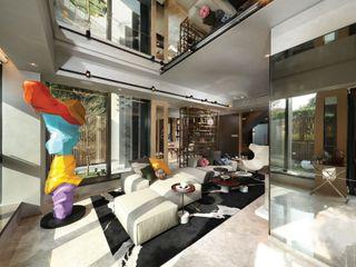 John Chan Design Ltd Гостиная в стиле модерн Серый