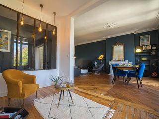 appartement ancien masculin MISS IN SITU Clémence JEANJAN Salle à manger originale Bois Bleu