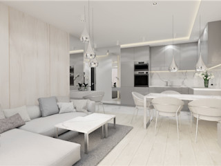 Wkwadrat Architekt Wnętrz Toruń Small kitchens Wood Grey