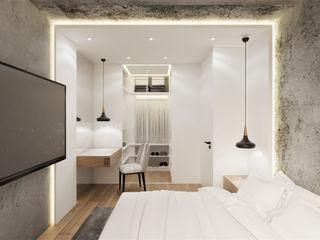 Wkwadrat Architekt Wnętrz Toruń Small bedroom Concrete White
