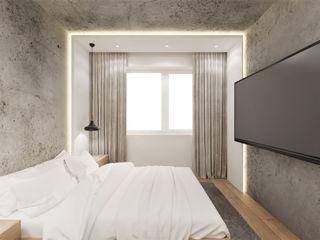 Wkwadrat Architekt Wnętrz Toruń Small bedroom Concrete Grey