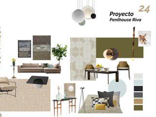 Penthouse Riva, Puerto Cancún. Andrea Loya Pasillos, vestíbulos y escaleras modernos