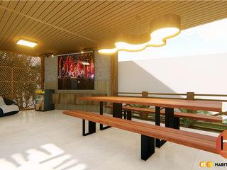 Habitus Arquitetura Balcones y terrazas modernos Madera Acabado en madera