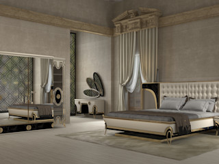 Inan AYDOGAN /IA Interior Design Office 寝室ベッド&ヘッドボード 木材・プラスチック複合ボード ベージュ