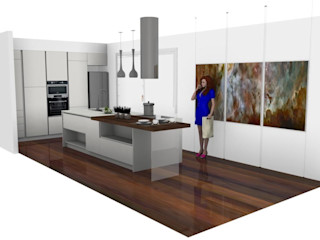 Cucina di design in villetta moderna L&M design di Marelli Cinzia Cucina attrezzata MDF Bianco