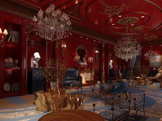 Inan AYDOGAN /IA Interior Design Office クラシックデザインの リビング 木 赤色