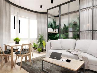Wkwadrat Architekt Wnętrz Toruń Industrial style living room Metal Green