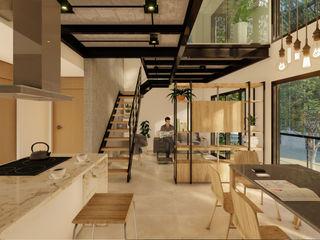 D4-Arquitectos Comedores modernos Hierro/Acero Blanco