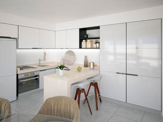 D4-Arquitectos Cocinas modernas Madera Blanco