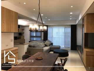 禹陞設計工作室 Living room Solid Wood Wood effect