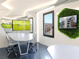 OFICINAS EN AVENIDA DIAGONAL DE BARCELONA MANUEL TORRES DESIGN Oficinas y tiendas de estilo moderno Blanco