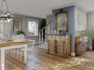 Projekt und Visualisierung von Landhaus in Magnolien Garten. MITKO DESIGN Wohnzimmer im Landhausstil