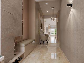 De Panache Modern Corridor, Hallway and Staircase Bricks Beige