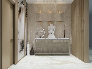 De Panache Modern Corridor, Hallway and Staircase Marble White