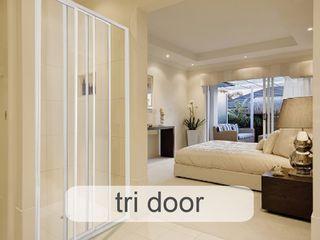 Aluminium Shower Door Types - Which One Fits Best? Origin Aluminium (Pty) Ltd Minimal style Bathroom Aluminium/Zinc White