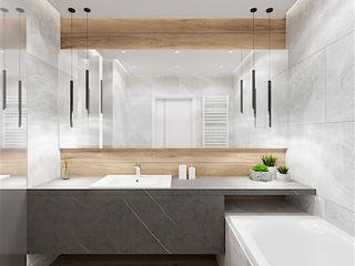 Wkwadrat Architekt Wnętrz Toruń Modern bathroom Stone Grey