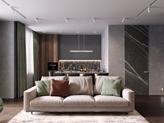 Студия архитектуры и дизайна Дарьи Ельниковой Phòng khách phong cách tối giản